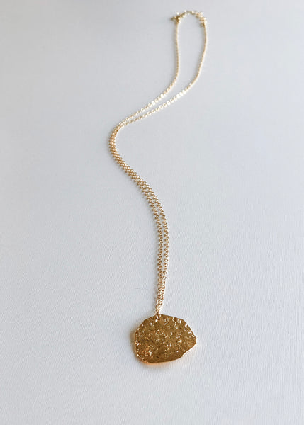 Textured Disc Necklace - Gold