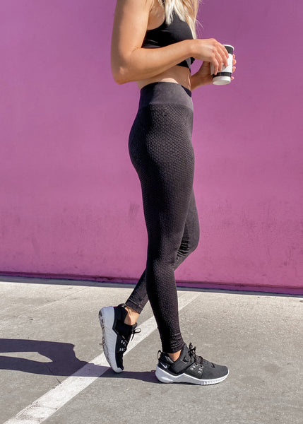 Snakeskin Leggings - Black