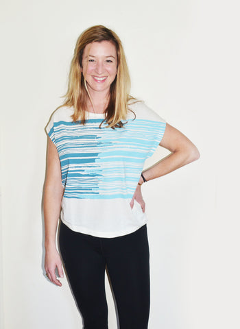 keang top - teal stripes