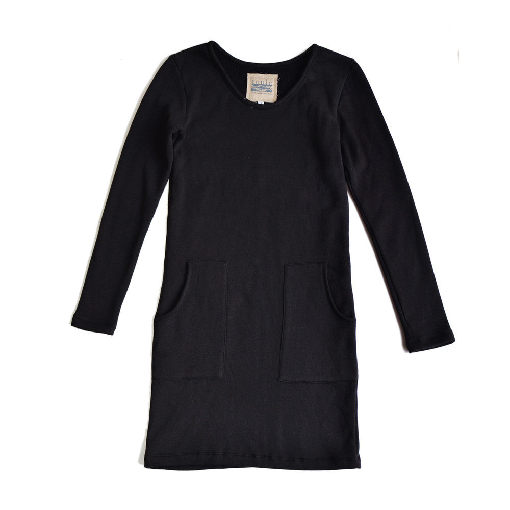 basic long sleeved t-shirt dress - black