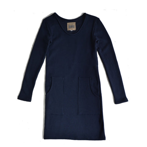 basic long sleeved t-shirt dress - navy