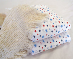 Organic Cotton Crib Fitted Sheet and FREE Receiving Blanket Stars