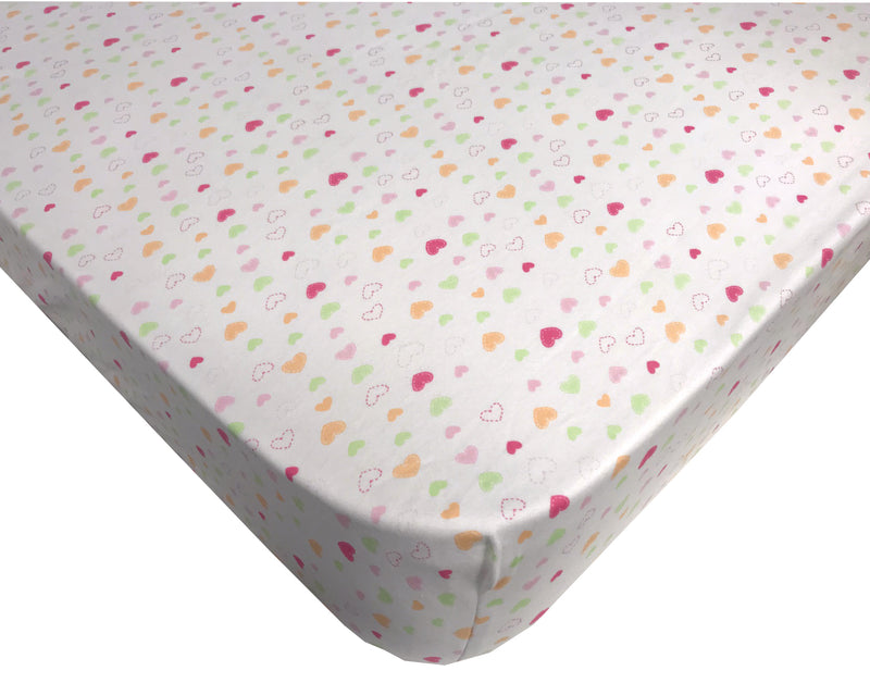 Organic Cotton Crib Fitted Sheet and FREE Receiving Blanket Hearts