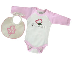 Organic Cotton Long Sleeve Onesie Bodysuit - Free Bib