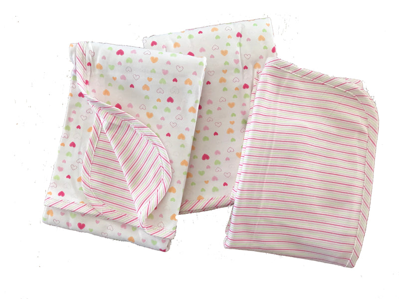 Organic Cotton Jersey Receiving Blanket Hearts 3 Pack