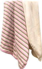 Organic Cotton Premium Receiving Blanket Pink Striped and Natural