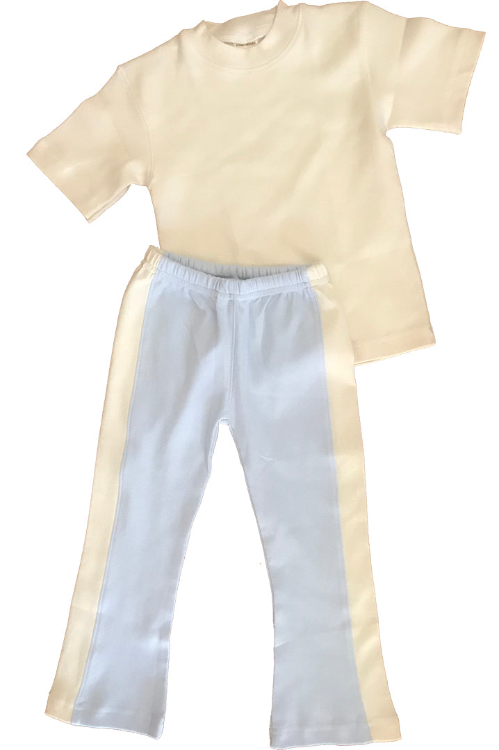 Organic Cotton Blue Yoga Pant and Natural Tee Shirt 1-2 year