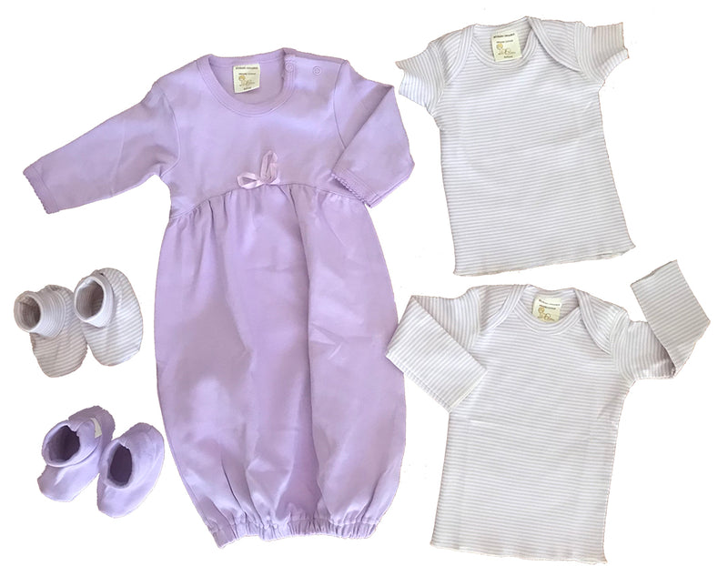 Organic Cotton Lavender Layette Set 5 PIECE