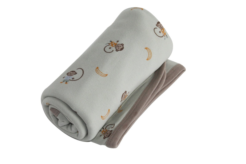 Organic Cotton Premium Receiving Blanket Sage Monkey