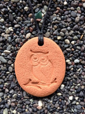 Owl Diffuser Necklace Terracotta