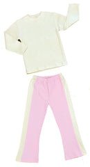Organic Cotton Pink Yoga Pant and Natural Tee Shirt