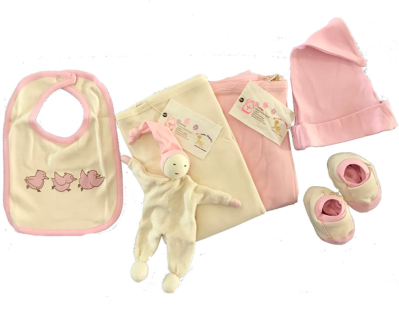 Organic Cotton Deluxe Layette Set PINKS
