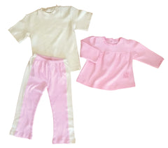 Organic Cotton Pink Yoga Pant, Natural Tee Shirt, and Swing Top 18-24m
