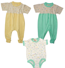 Organic Cotton Zip Jumpsuits Yellow and Mint Free BodySuit