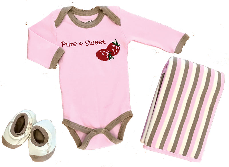 Ecobaby Organics Pure and Sweet Onesie 3m, FREE Blanket, and Booties