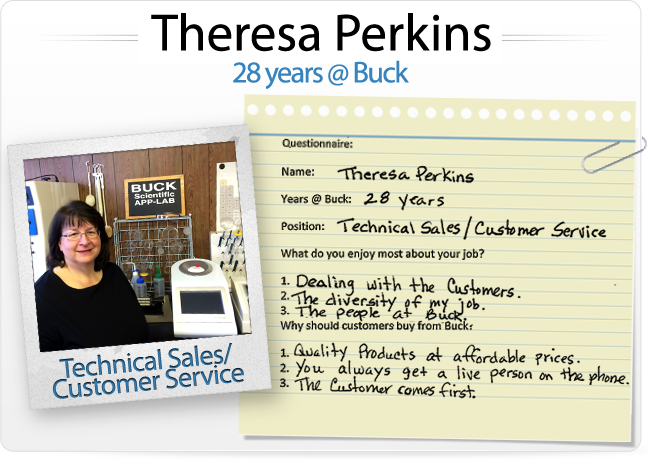 Theresa Perkins (28 years @ Buck, Technical Sales/Customer Service)