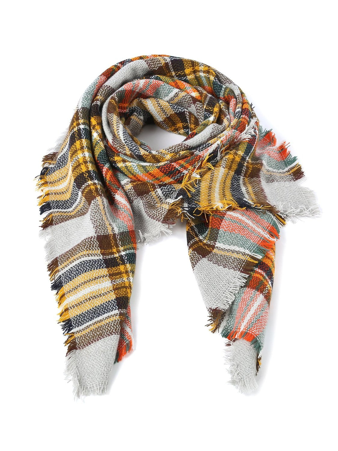 scarf winter Scarf Gorgeous ladies shawls Plaid orange cream