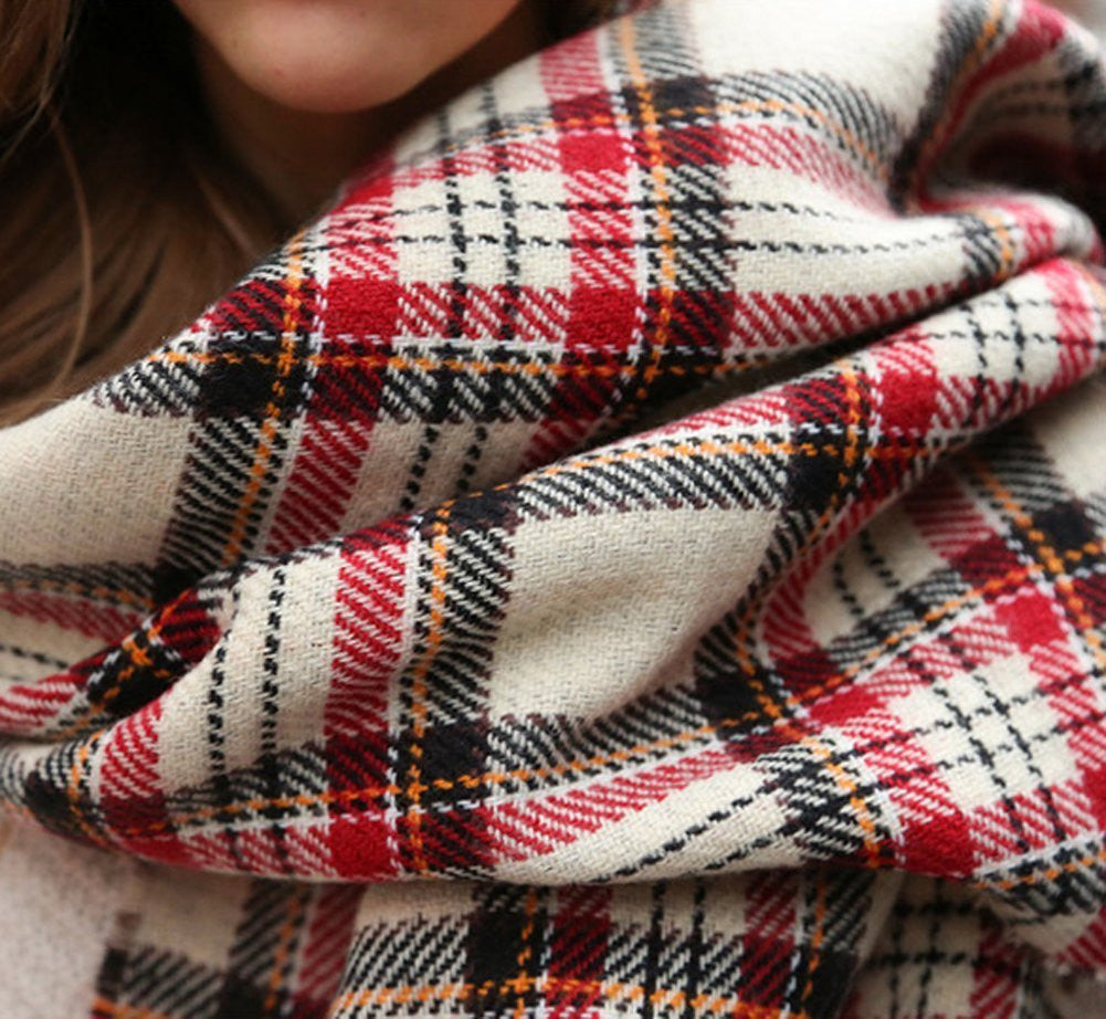 Houndstooth Scarf Reversible Long Blanket Scarf Wrap Shawl - Beige - scarftopia