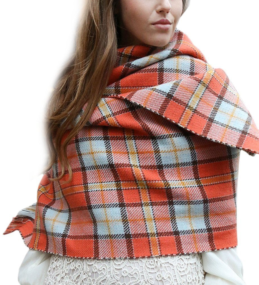 Soft Houndstooth Reversible Long Blanket Scarf Wrap Shawl - Orange - scarftopia
