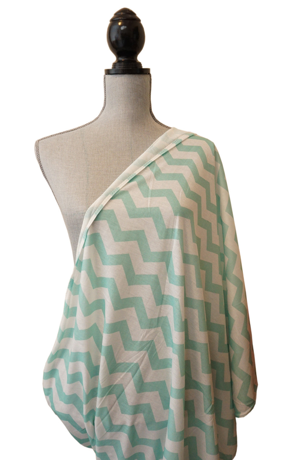 Nursing Cover - Breastfeeding cover Infinity Scarf Chevron Pattern - Mint - scarftopia