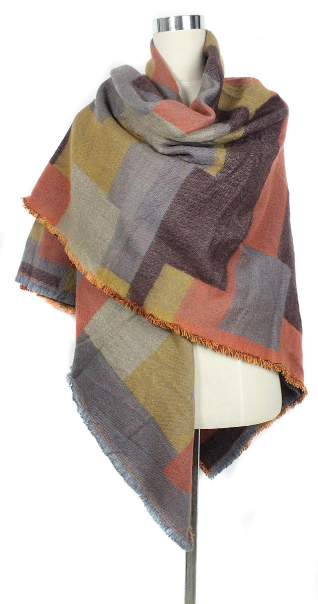 Plaid Warm Winter Scarf - Orange - scarftopia