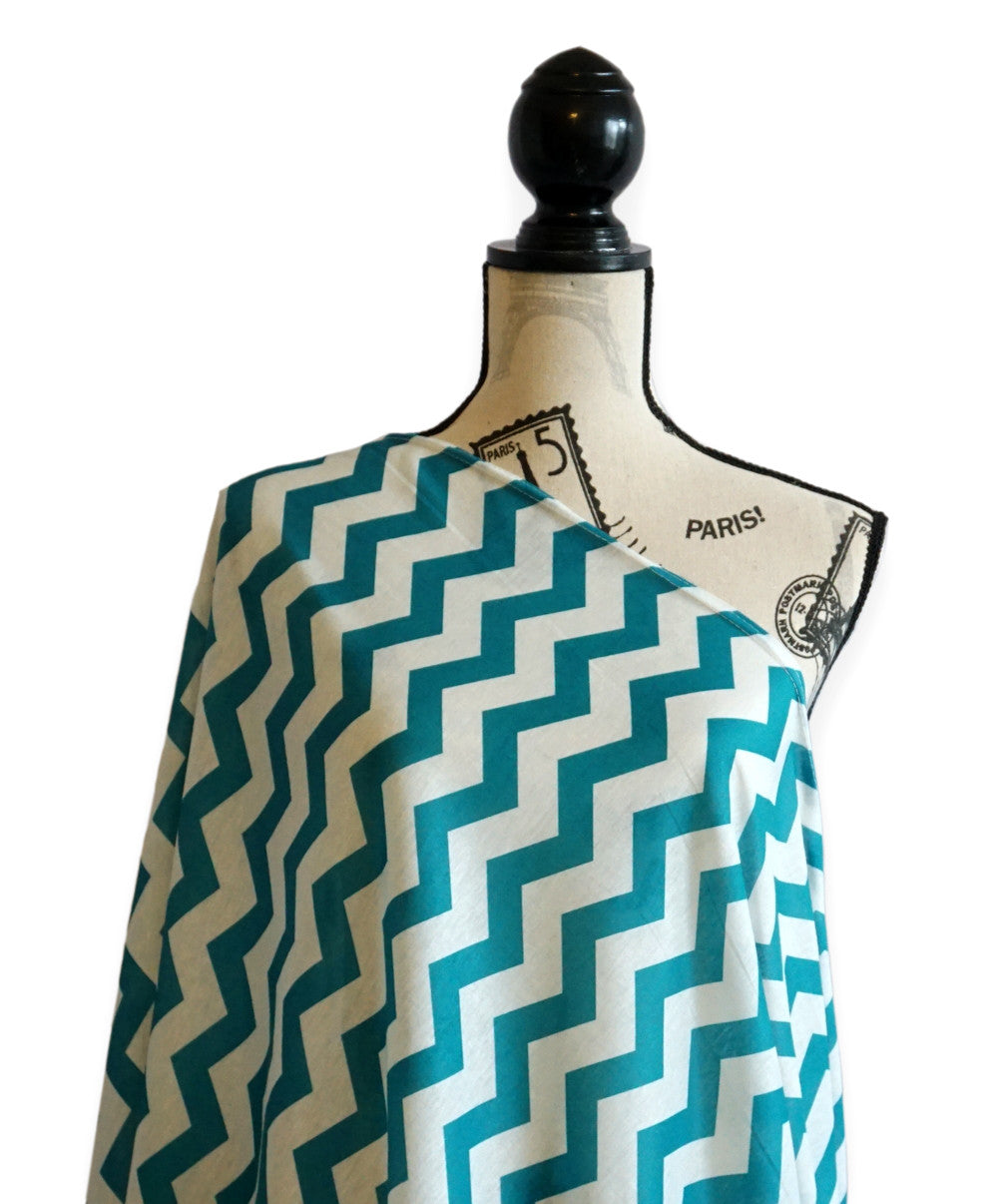Infinity scarf - Nursing Breastfeeding cover Chevron Pattern - Teal - scarftopia