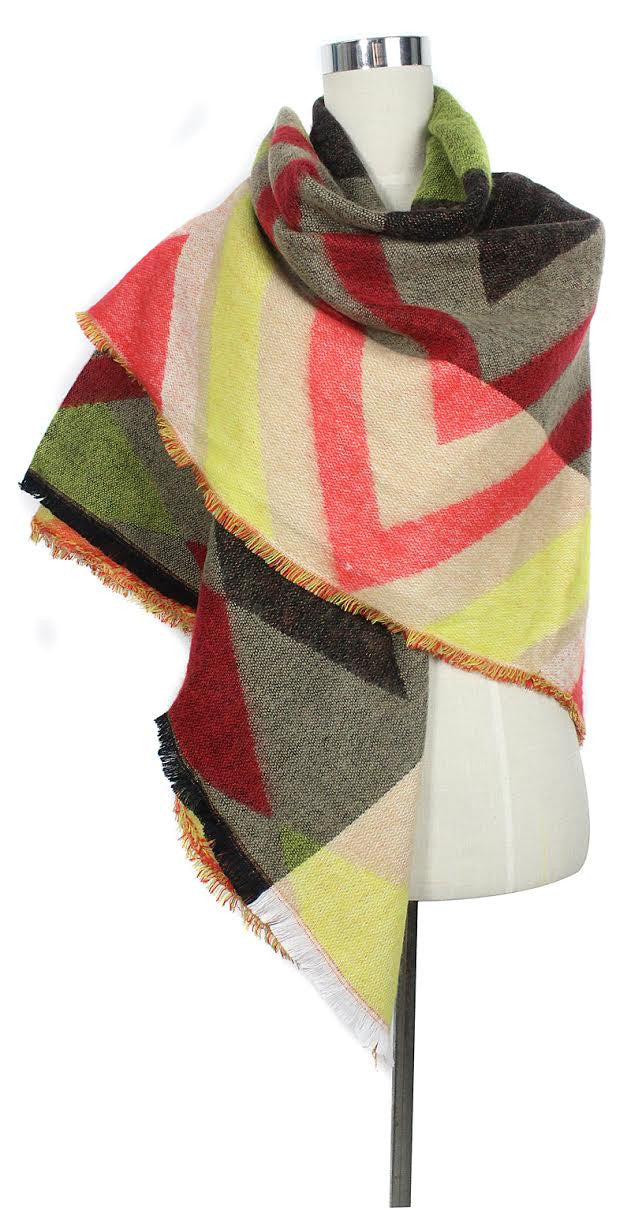 Plaid Warm Blanket Scarf - Yellow - scarftopia