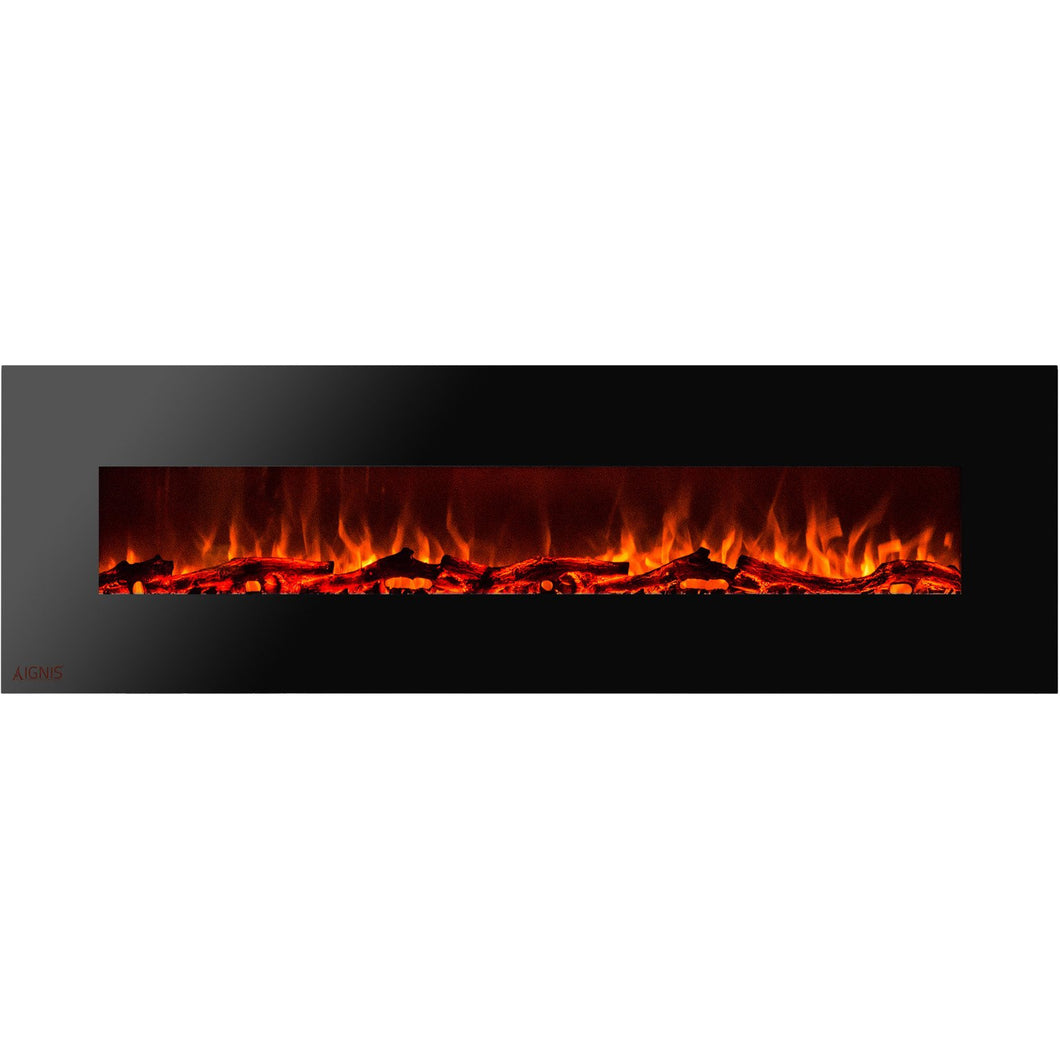 Ignis Royal - Wall Mount Electric Fireplace with Logs - 95 inch - Prometheus Fireplaces