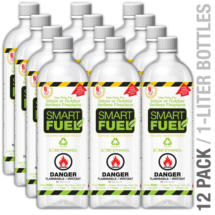Anywhere Fireplace - 12 Pack Liter Bottles Smart Fuel Liquid Bio-Ethanol - Prometheus Fireplaces