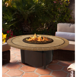 American Fire Glass Carmel Round 42 Inch Chat Height Fire Pit - Prometheus Fireplaces