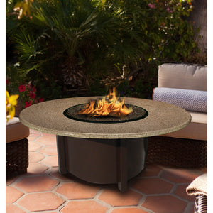 American Fire Glass Carmel Round 48 Inch Chat Height Fire Pit - Prometheus Fireplaces