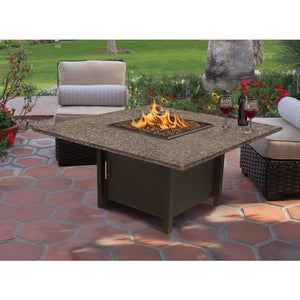 American Fire Glass Carmel Square 42 Inch Chat Height Fire Pit - Prometheus Fireplaces