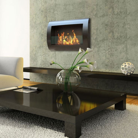 ... Anywhere Fireplace   Chelsea Black (90202) Wall Mounted Ethanol  Fireplace
