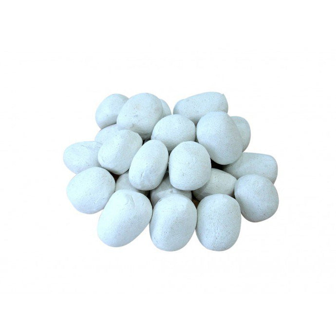 White Ceramic Fireplace Pebble Set - 24pcs - Prometheus Fireplaces