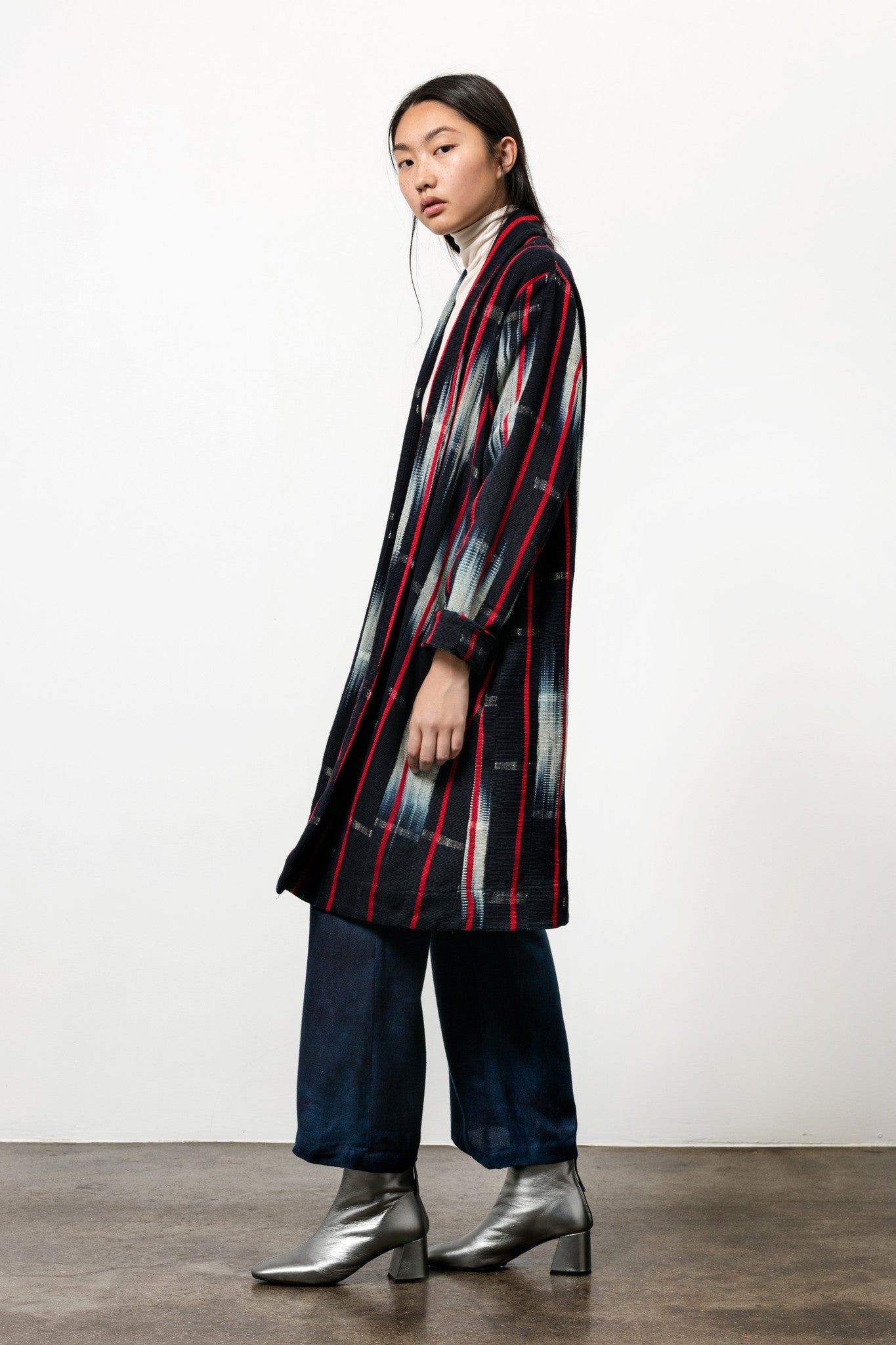 Theca Coat in Handwoven Indigo Ikat