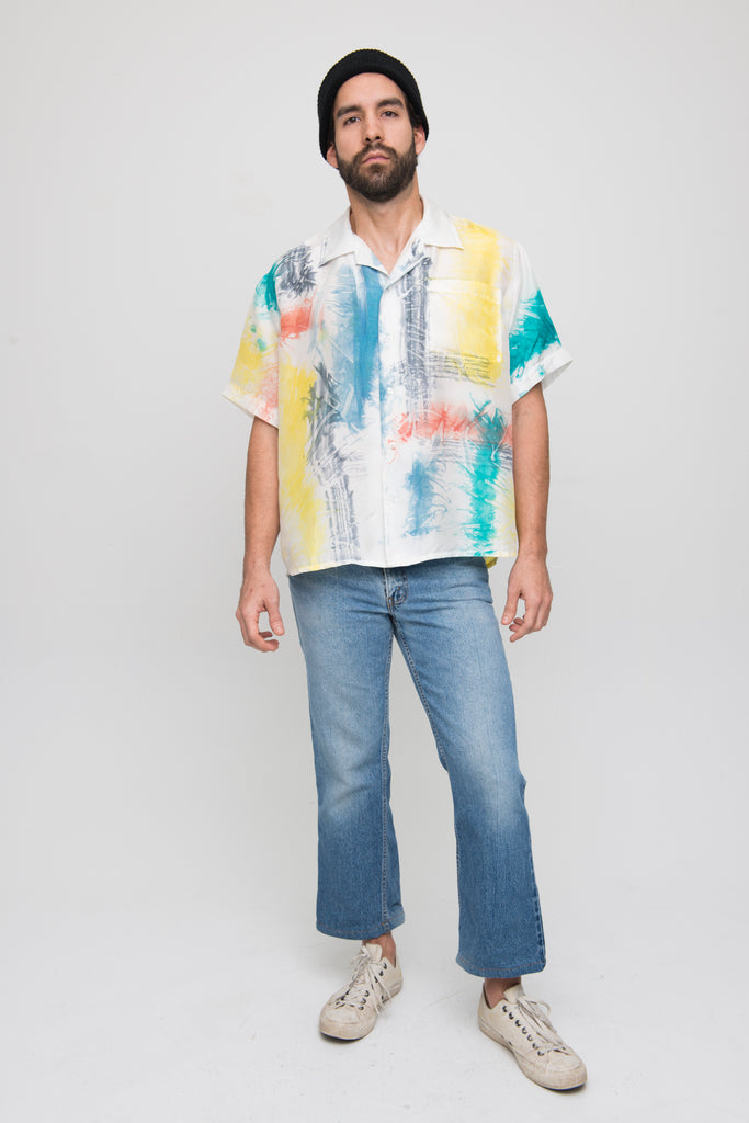 Men's/Unisex Silk Button Up in Internet Baby