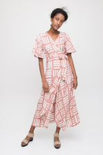 Tulip Wrap Dress in Pink Basket