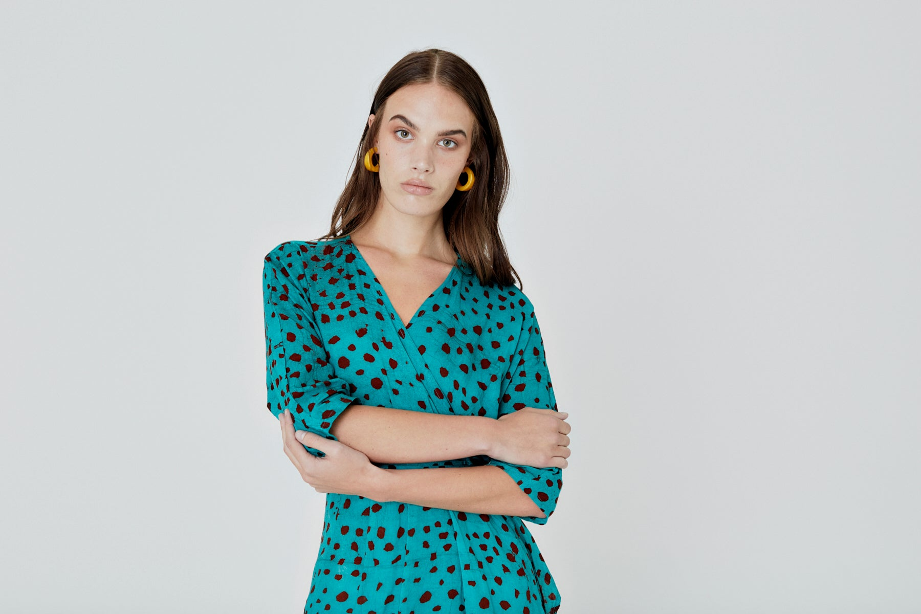 PRE-ORDER - Letsa Wrap Dress in Baby Giraffe