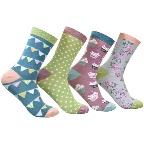 Thought - Women's Blissfully Soft Bamboo Socks Box - 4 Pairs in Decorative Giftbox