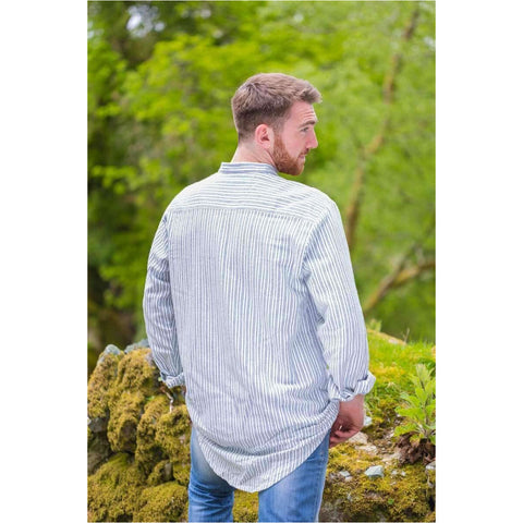 Lee Valley - Genuine Irish Cotton Flannel Grandfather Shirt - Men's (Blue/Ivory Stripe) - Naturally Ideal