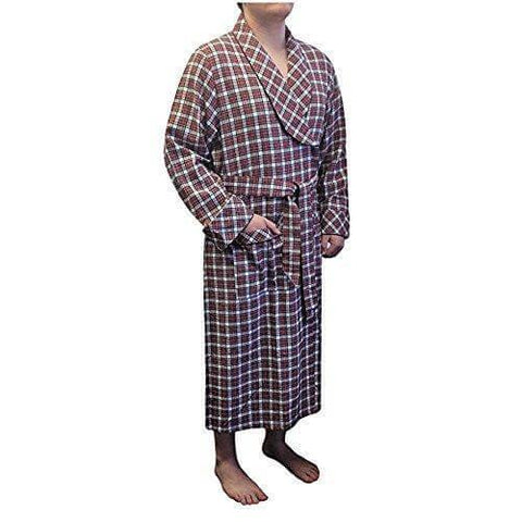 Lee Valley, Ireland - Men's Flannel Robe (Red/White) - Naturally Ideal