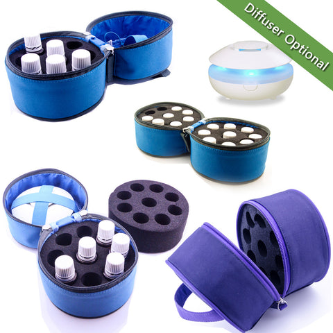 Essential Oil Carrying Case - Retro Round Style, Holds 9 15mL Bottles & Optional Lily Diffuser