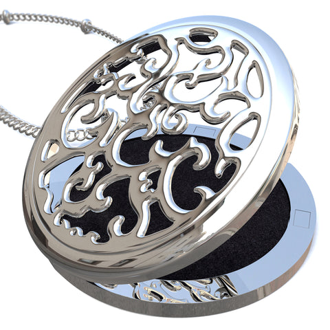 Essential Oil Diffuser Necklace - Swirl Design, Surgery Grade Stainless Steel, Hypoallergenic