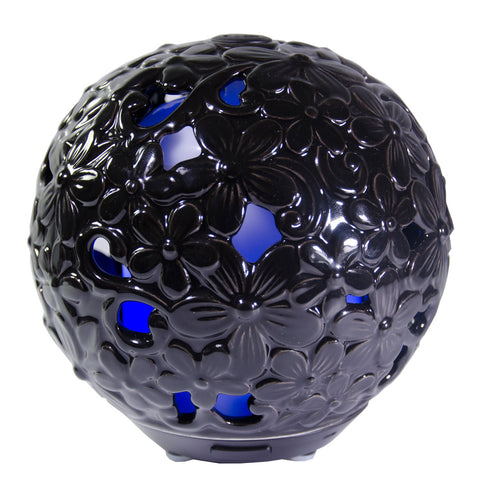 "Essential Oil Diffuser Fleur - Black Ceramic ""Hand Crafted"" Aromatherapy, 7 LED Colors"