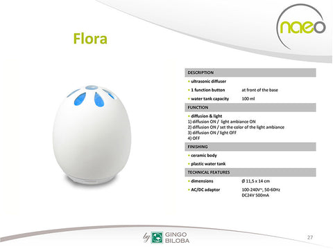 Essential Oil Diffuser Flora - White Porcelain Aromatherapy Diffuser - 7 Changing Colors