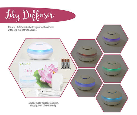 Essential Oil Diffuser Lily - Portable Travel Aromatherapy - LED lights, Battery, USB and AC powered