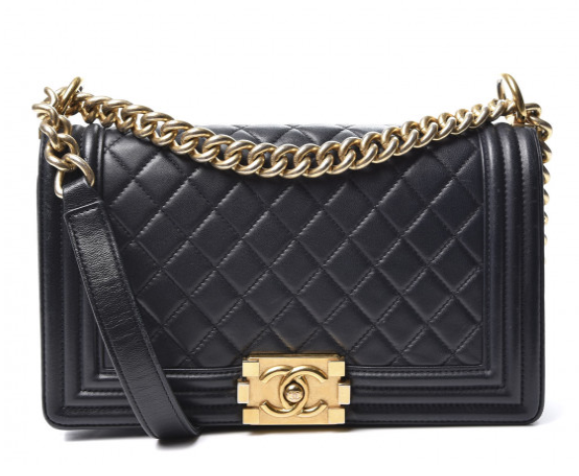 Le Boy Chanel Black diamond-quilted leather