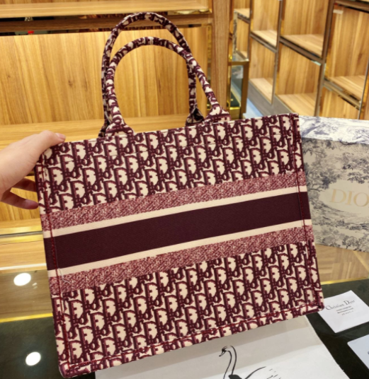 DIOR SMALL BOOK TOTE Burgundy Dior Oblique Embroidery