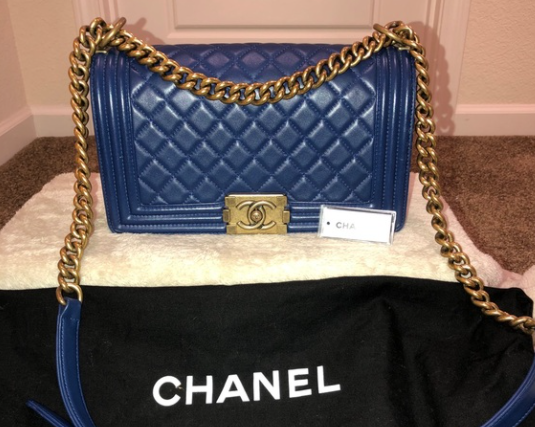 Le Boy Chanel Blue diamond-quilted leather