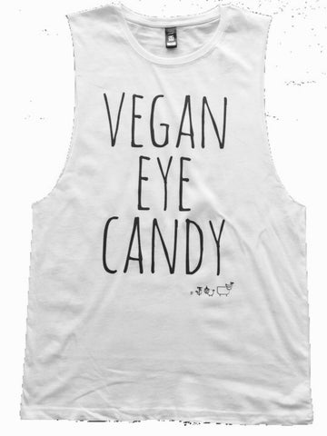 VEGAN EYE CANDY - Unisex Muscle Tank (Black, White)